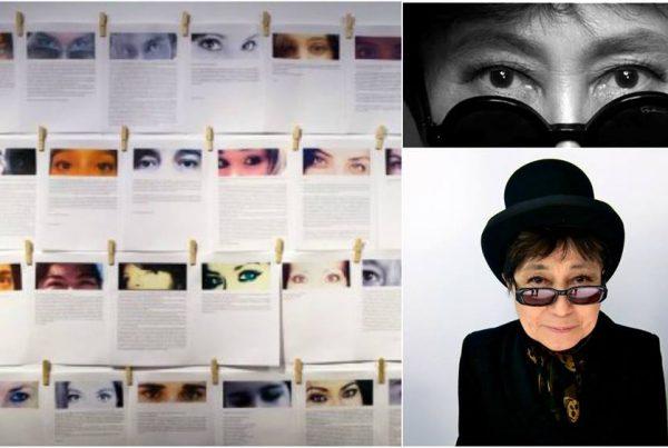 yoko ono et des visages photographiés