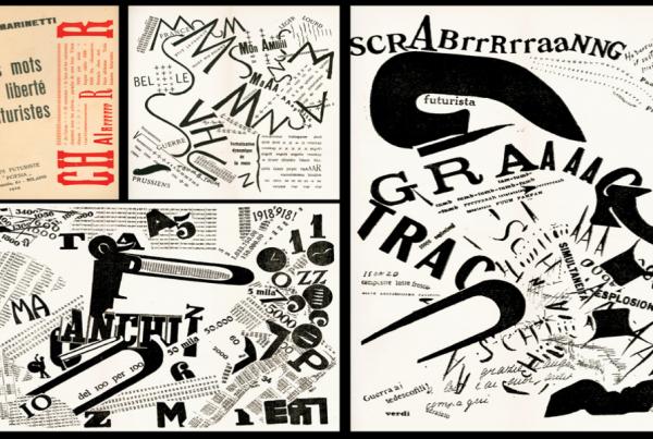 Typographie du futurisme mots en liberté futuriste